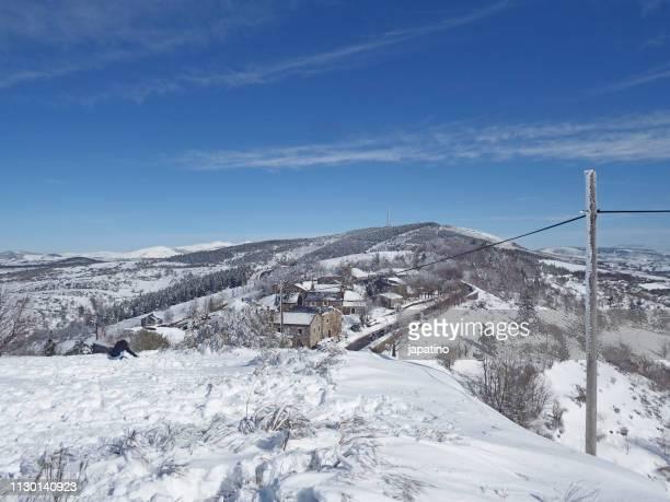 Snowy town of Piedrafita do Cebreiro. Galicia