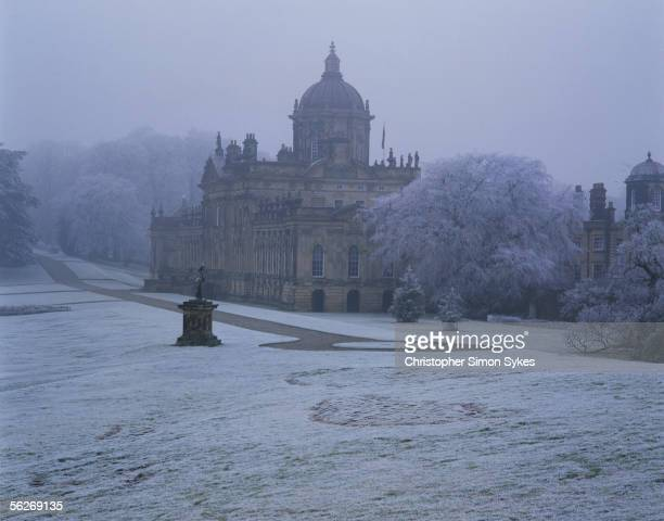 A snowy view of Castle Howard in Yorkshire 1990s