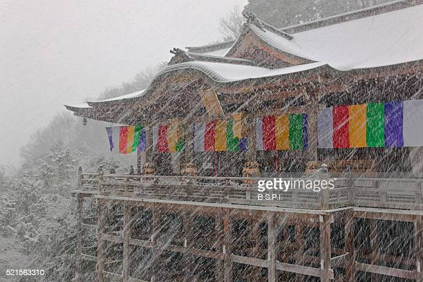 snowy view of honden hall at tanukidani fudo-in temple in kyoto, japan - shingon buddhismus stock-fotos und bilder