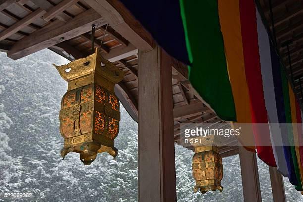 snowy view of toro lanterns hanging at tanukidani fudo-in temple in kyoto, japan - shingon buddhismus stock-fotos und bilder