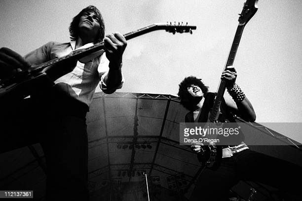 Snowy White and Phil Lynott of Thin Lizzy live at Slane Castle March 1981
