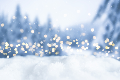 snowy winter christmas bokeh background with circular lights and trees 888878120