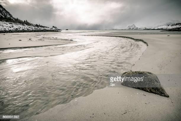 "snowy winter landscape in the lofoten in norway - ""sjoerd van der wal"" or ""sjo"" stock pictures, royalty-free photos & images"