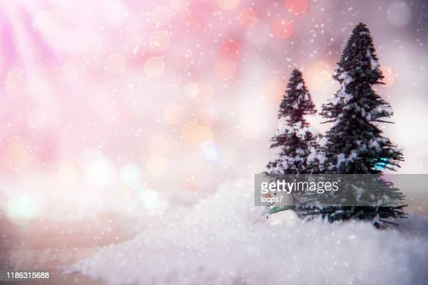 snowy winter - fake snow stock pictures, royalty-free photos & images