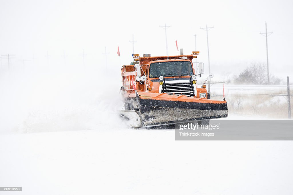 SNw plow on road : Stock Photo