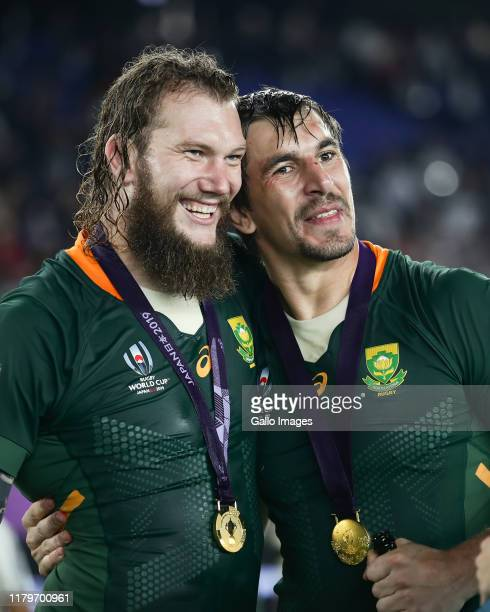 Snyman and Eben Etzebeth of South Africa after the Rugby World Cup 2019 Final match between England and South Africa at International Stadium...