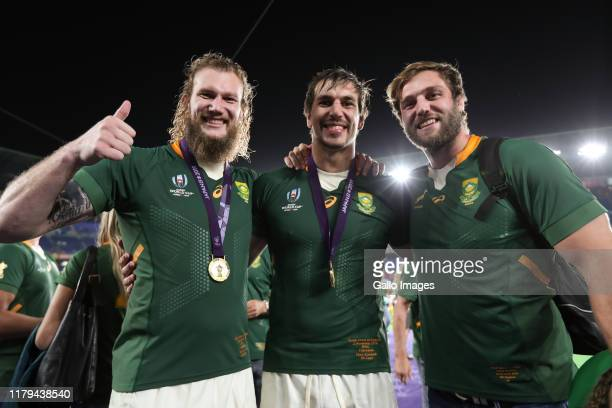 Snyman Eben Etzebeth of South Africa and his brother after the Rugby World Cup 2019 Final match between England and South Africa at International...
