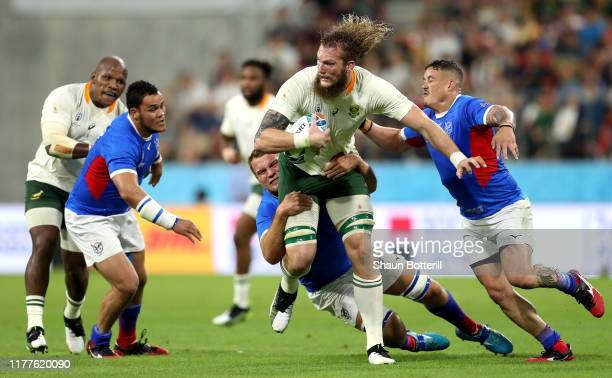 Snyman of South Africa breaks during the Rugby World Cup 2019 Group B game between South Africa and Namibia at City of Toyota Stadium on September 28...