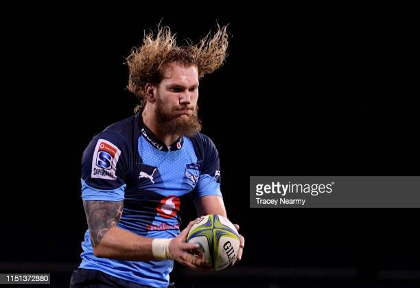Snyman of the Bulls takes a line out during the round 15 Super Rugby match between the Brumbies and the Bulls at GIO Stadium on May 24 2019 in...