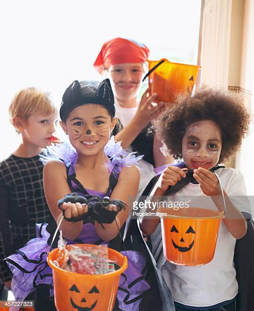 so cute in their costumes - halloween kids stock photos and pictures