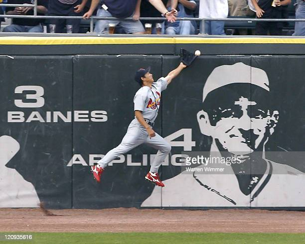 So Gaguchi attempts to catch a fly ball at US Cellular Field in Chicago Illinois June 10 2006 The Chicago White Sox over the Cardinals by a score of...