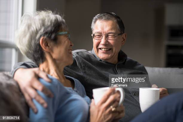 so happy together - asian drink stock photos and pictures