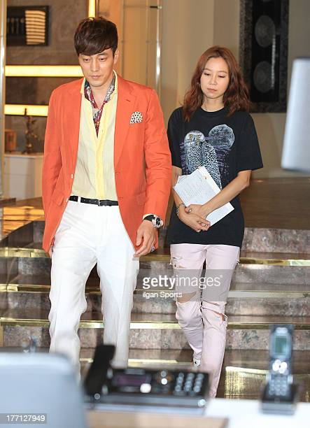 So JiSub and Kong HyoJin are seen during the SBS Drama 'The Master's Sun' filming at SBS Ilsan Production Center on August 2 2013 in Ilsan South Korea