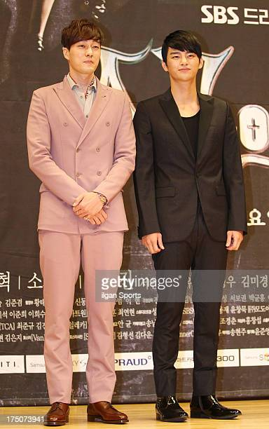 So JiSub and Seo InGuk attend the SBS Drama 'The Master's Sun' press conference at SBS Building on July 26 2013 in Seoul South Korea
