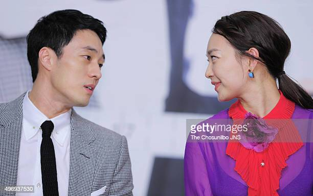 So Jisub and Shin Mina attend the KBS drama 'Oh My Venus' press conference at Amoris on November 11 2015 in Seoul South Korea
