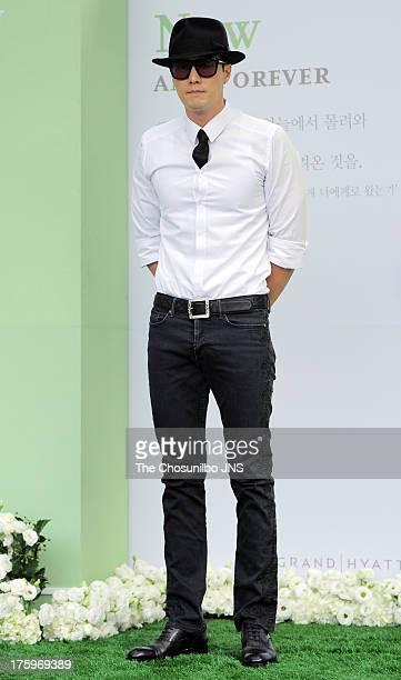 So JiSub attends Lee ByungHun and Lee MinJung's wedding at Grand Hyatt Hotel on August 10 2013 in Seoul South Korea