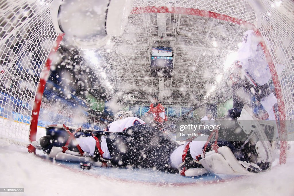 So Jung Shin #31 of Korea reacts after a third period goal by Lara Stalder #7 of Switzerland (not pictured) during the Women's Ice Hockey Preliminary Round - Group B game on day one of the PyeongChang 2018 Winter Olympic Games at Kwandong Hockey Centre on February 10, 2018 in Gangneung, South Korea.