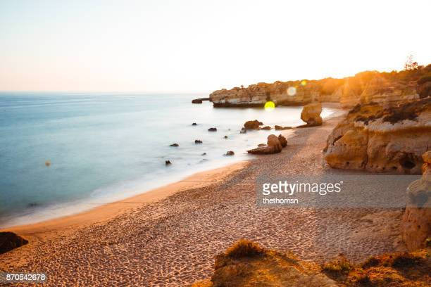 são rafael beach at sunset, algarve portugal - algarve stock photos and pictures