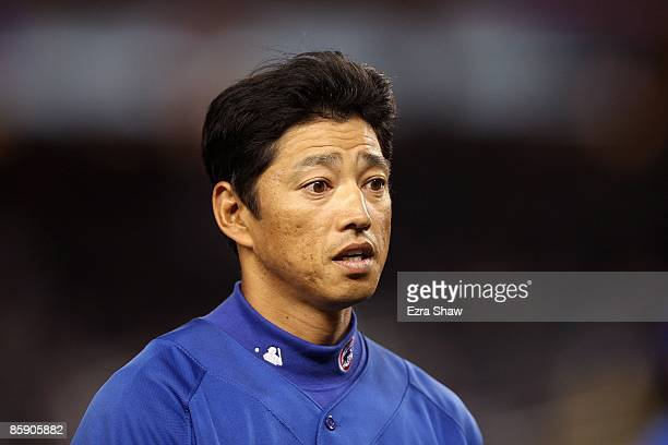So Taguchi of the Chicago Cubs during their game against the New York Yankees at Yankee Stadium on April 3 2009 in the Bronx borough of New York City...