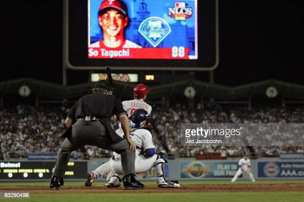 So Taguchi of the Philadelphia Phillies at bat during Game Four of the National League Championship Series against the Los Angeles Dodgers during the...
