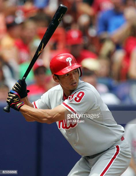 So Taguchi of the Philadelphia Phillies bats against the New York Mets on July 24 2008 at Shea Stadium in the Flushing neighborhood of the Queens...