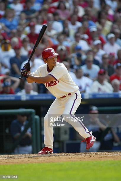 So Taguchi of the Philadelphia Phillies bats during the game against the Atlanta Braves at Citizens Bank Park in Philadelphia Pennsylvania on July 26...