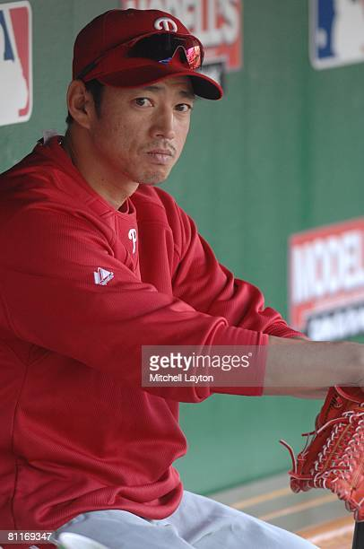 So Taguchi of the Philadelphia Phillies before a baseball game against the Washington Nationals on May 19 2008 at Nationals Park in Washington DC
