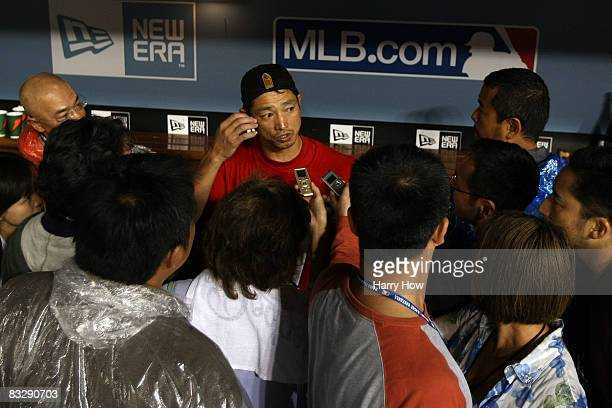 So Taguchi of the Philadelphia Phillies celebrates as he talks with the media after winning Game Five of the National League Championship Series 51...