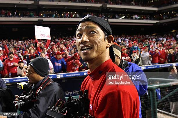 So Taguchi of the Philadelphia Phillies celebrates on the field after the Phillies won the World Series with their 43 win against the Tampa Bay Rays...