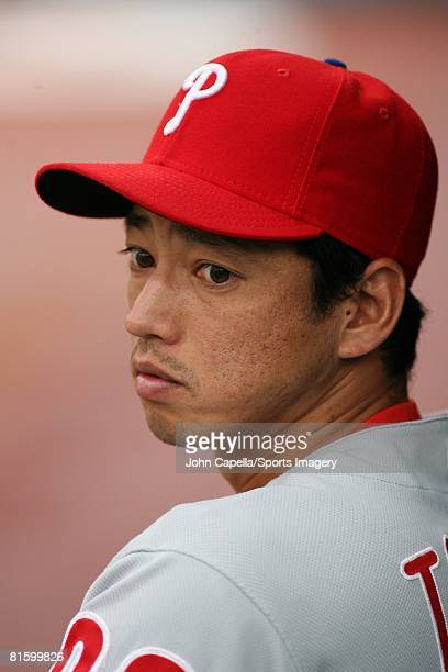 So Taguchi of the Philadelphia Phillies looks on during a MLB game against the Florida Marlins on June 11 2008 in Miami Florida