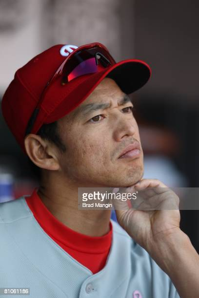 So Taguchi of the Philadelphia Phillies watches in the dugout during the game against the San Francisco Giants at ATT Park in San Francisco...