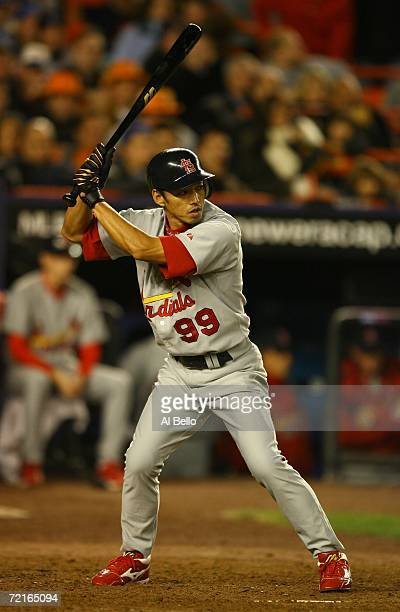 So Taguchi of the St. Louis Cardinals bats in the ninth against the New York Mets during game two of the NLCS at Shea Stadium on October 13, 2006 in...