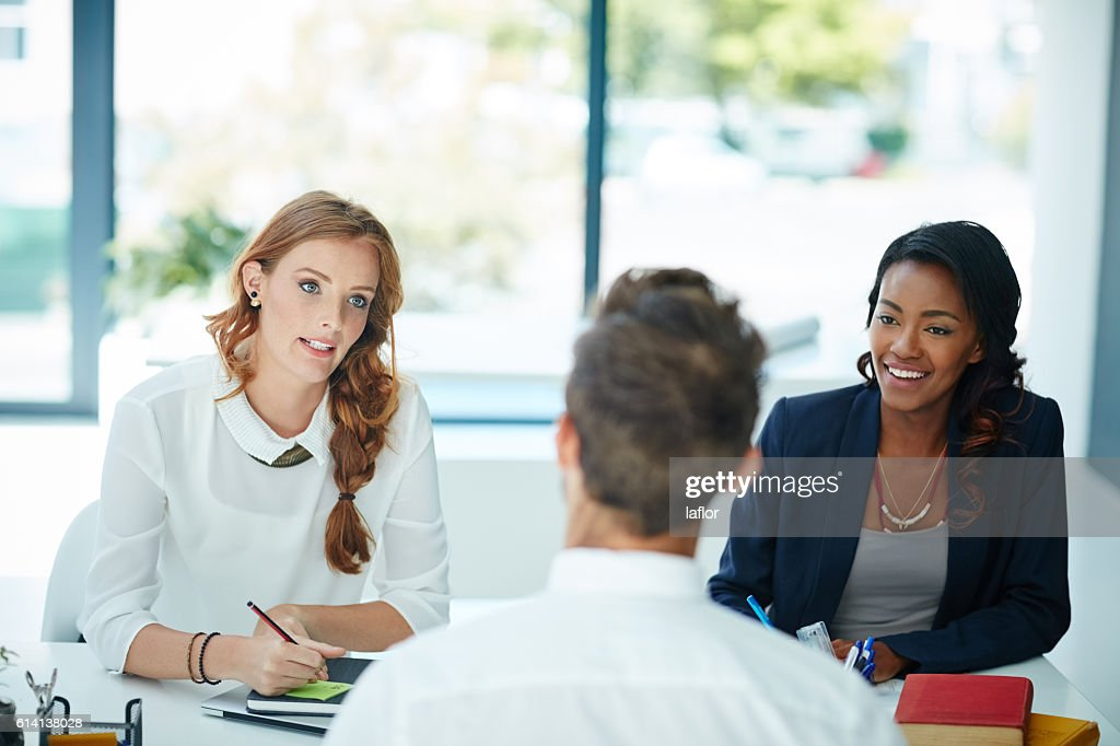 So tell us what made you apply for the position? : Stock Photo