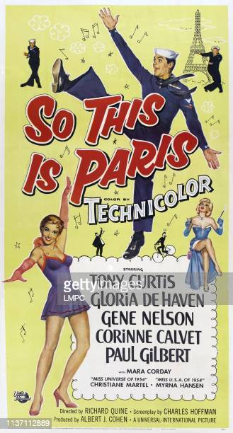 So This Is Paris poster US poster art top from left Gene Nelson Tony Curtis Paul Gilbert below right Corinne Calvet 1955