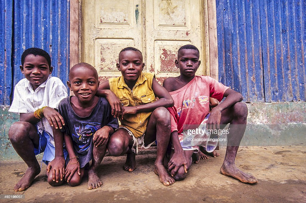São Tomé and Principé, São Tomé, local boys. : Stock Photo