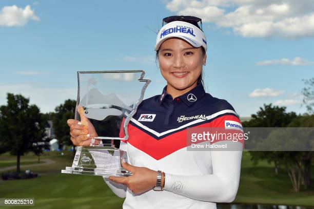 So Yeon Ryu of Korea displays the trophy after winning the Walmart NW Arkansas Championship Presented by P&G on June 25, 2017 in Rogers, Arkansas.