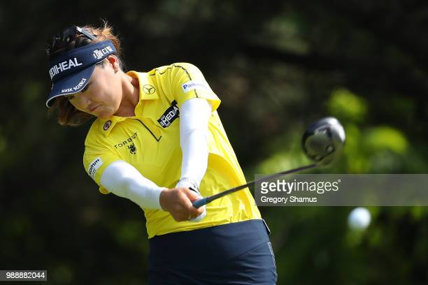 So Yeon Ryu of Korea hits her drive on the second hole during the final round of the 2018 KPMG PGA Championship at Kemper Lakes Golf Club on July 1...