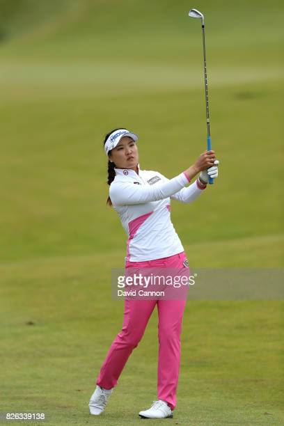 So Yeon Ryu of Korea hits her second shot on the 16th hole during the second round of the Ricoh Women's British Open at Kingsbarns Golf Links on...