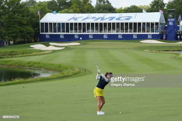 So Yeon Ryu of Korea hits her second shot on the 18th hole during the final round of the 2018 KPMG PGA Championship at Kemper Lakes Golf Club on June...