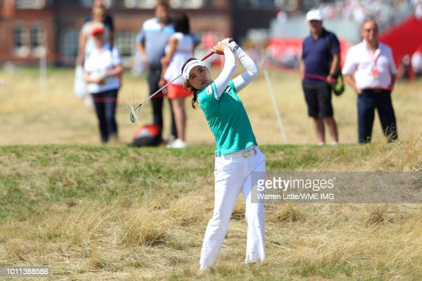 So Yeon Ryu of Korea hits her second shot on the 2nd hole during the final round of the Ricoh Women's British Open at Royal Lytham & St. Annes on...