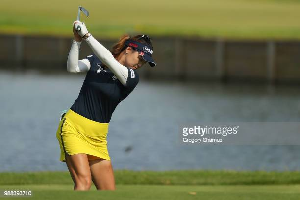 So Yeon Ryu of Korea hits her tee shot on the 17th hole during the final round of the 2018 KPMG PGA Championship at Kemper Lakes Golf Club on June...