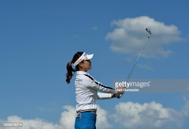 So Yeon Ryu of Korea plays her tee shot at the 17th hole during the first day of the Aberdeen Ladies Scottish Open at Gullane Golf Course on July 26...