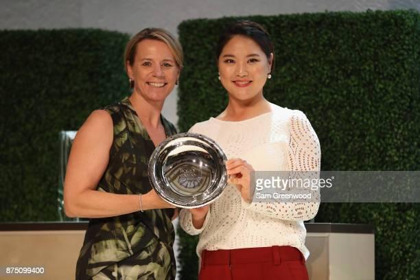 So Yeon Ryu of Korea poses with Annika Sorenstam after receiving the Rolex ANNIKA Major Award during the LPGA Rolex Players Awards at The RitzCarlton...