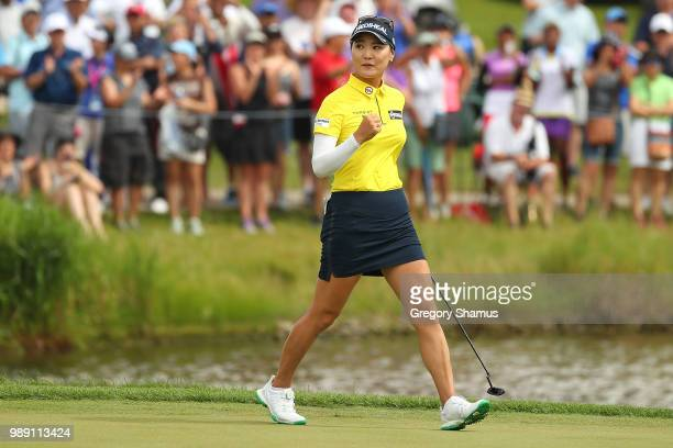So Yeon Ryu of Korea reacts to a made birdie putt on the first playoff hole during the final round of the 2018 KPMG PGA Championship at Kemper Lakes...