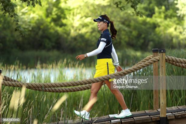So Yeon Ryu of Korea walks from the 17th green to the 18th tee during the final round of the 2018 KPMG PGA Championship at Kemper Lakes Golf Club on...