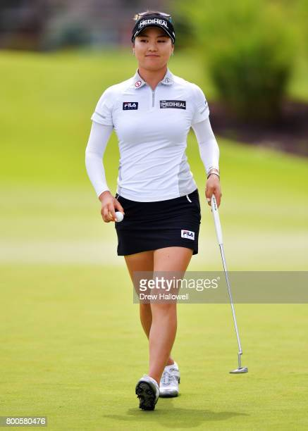 So Yeon Ryu of Korea walks off the green on the first hole after a birdie during the second round of the Walmart NW Arkansas Championship Presented...