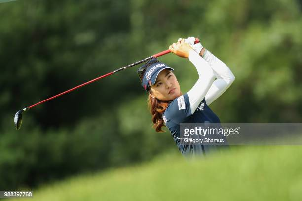 So Yeon Ryu of Korea watches second shot on the 15th hole during the final round of the 2018 KPMG PGA Championship at Kemper Lakes Golf Club on June...