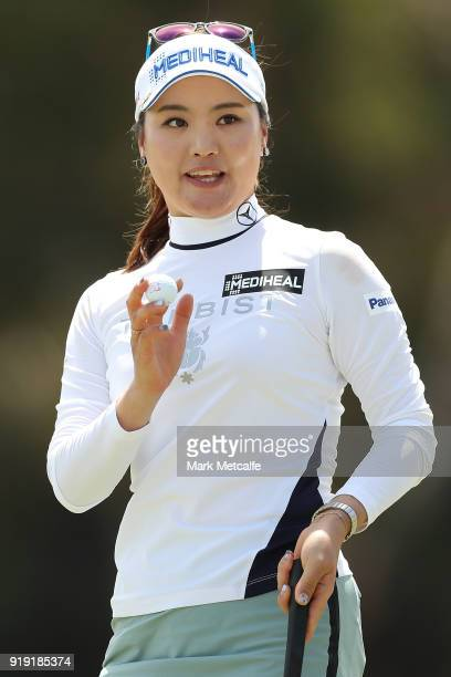So Yeon Ryu of South Korea acknowledges the crowd after holing a putt on the 18th hole during day three of the ISPS Handa Australian Women's Open at...