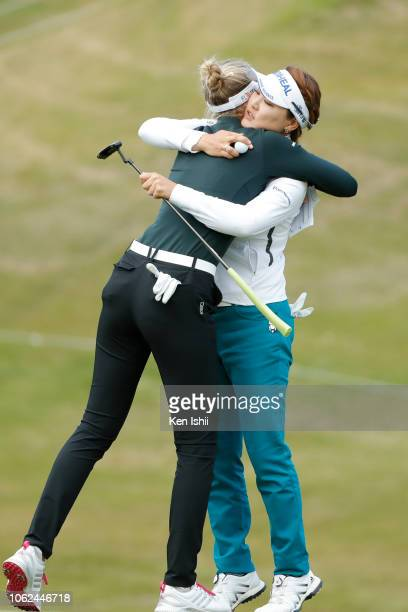 So Yeon Ryu of South Korea and Nelly Korda of United States hug on the 18th green during the first round of the TOTO Japan Classic at Seta Golf...