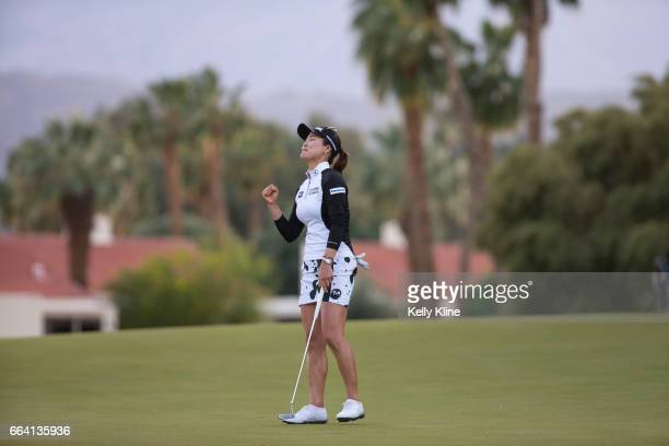 So Yeon Ryu of South Korea birdies the 18th hole and defeats Lexi Thompson in a playoff to win the 2017 ANA Inspiration at Mission Hills Country Club...